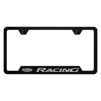 Autogold® - Black License Plate Frame with Laser Etched Ford Racing Logo and Cut-Outs