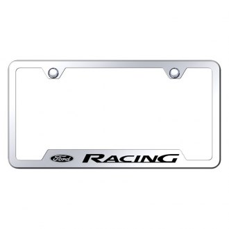 Autogold® - Chrome License Plate Frame with Laser Etched Ford Racing Logo and Cut-Out