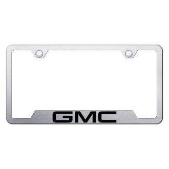 Autogold® - Brushed License Plate Frame with Laser Etched GMC Logo and Cut-Outs