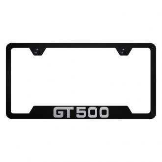 Autogold® - Black License Plate Frame with Laser Etched GT500 Mustang Logo and Cut-Out