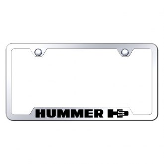Autogold® - Chrome License Plate Frame with Laser Etched H3 Logo and Cut-Out