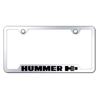 Hummer H3 Logo Chrome on Black Acrylic License Plate Kit
