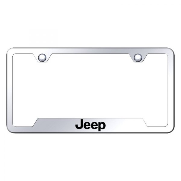 Autogold® - License Plate Frame with Laser Etched Jeep Logo and Cut-Outs