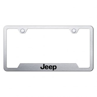 Autogold® - Brushed License Plate Frame with Laser Etched Jeep Logo and Cut-Out