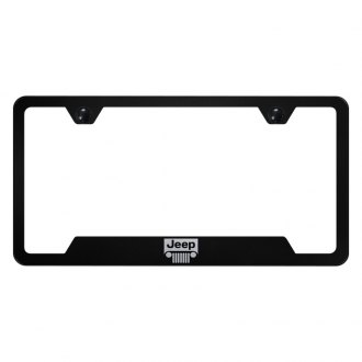 Autogold® - License Plate Frame with Laser Etched Jeep Grille Logo and Cut-Outs