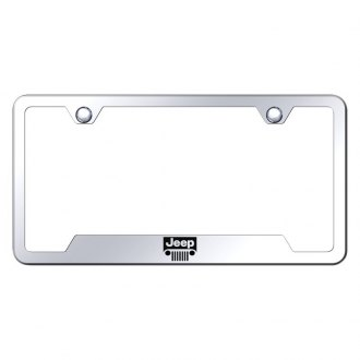 Autogold® - Chrome License Plate Frame with Laser Etched Jeep Grille Logo and Cut-Outs