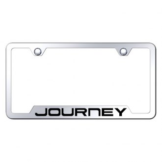 Autogold® - Chrome License Plate Frame with Laser Etched Journey Logo and Cut-Out