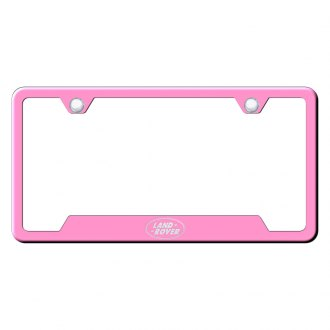 Autogold® - Pink License Plate Frame with Laser Etched Land Rover Only Logo and Cut-Out