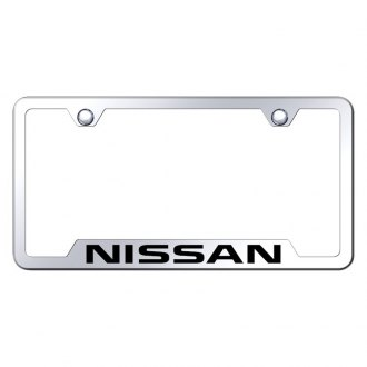 Autogold® - Chrome License Plate Frame with Laser Etched Nissan Logo and Cut-Outs