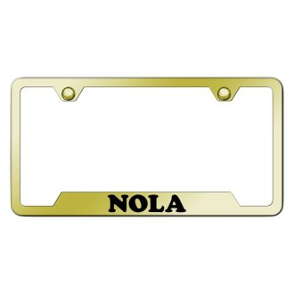 Autogold® - Gold License Plate Frame with Laser Etched NOLA Logo and Cut-Outs