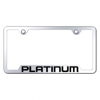 Autogold® - Chrome License Plate Frame with Laser Etched Platinum Logo and Cut-Out