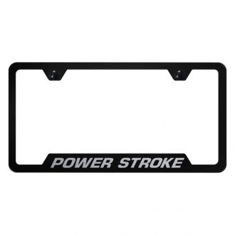 Autogold® - Black License Plate Frame with Laser Etched Power Stroke Logo and Cut-Out