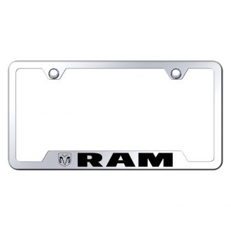 Autogold® - Chrome License Plate Frame with Laser Etched RAM Logo and Cut-Outs