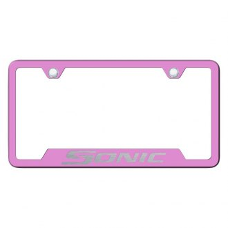 Autogold® - Pink License Plate Frame with Laser Etched Sonic Logo and Cut-Out