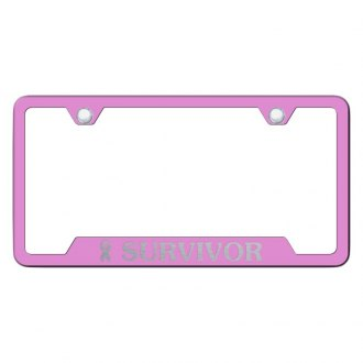 Autogold® - Pink License Plate Frame with Laser Etched Survivor Logo and Cut-Out