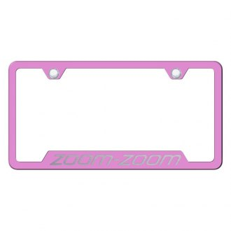 Autogold® - Pink License Plate Frame with Laser Etched Zoom-Zoom Logo and Cut-Out