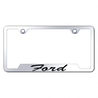 Autogold® - Chrome License Plate Frame with Script Laser Etched Ford Logo and Cut-Outs