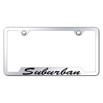 Autogold® - Chrome License Plate Frame with Script Laser Etched Suburban Logo and Cut-Outs