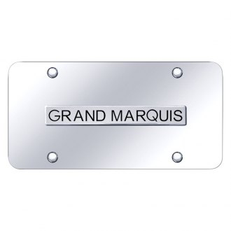 Autogold® - Chrome License Plate with 3D Chrome Grand Marquis Logo