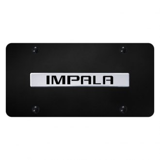 Autogold® - Black License Plate with Chrome Impala Logo