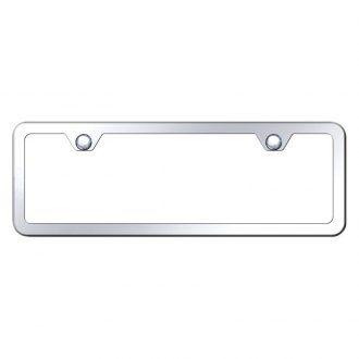 Autogold® - Slimline Plain 2-Hole Chrome Mini Size License Plate Frame
