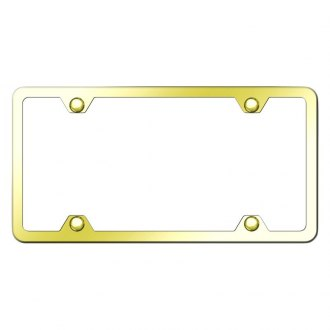 Autogold® - Slimline Plain 4-Hole Gold License Plate Frame