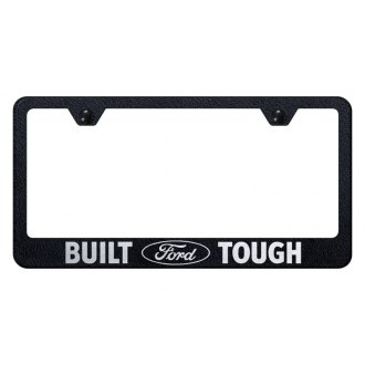 Autogold® - Rugged Black License Plate Frame with Laser Etched Built Ford Tough Logo