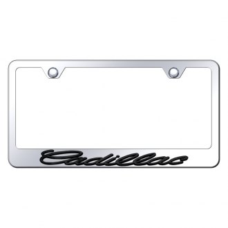 Autogold® - Chrome License Plate Frame with 3D Black Cadillac Logo