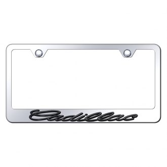 Autogold® - Chrome License Plate Frame with 3D Black Pearl Cadillac Logo
