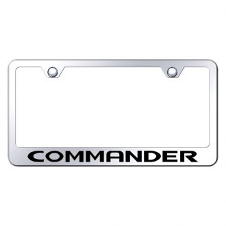 Autogold® - Chrome License Plate Frame with Laser Etched Commander Logo