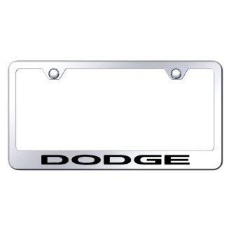 Autogold® - Chrome License Plate Frame with Laser Etched Dodge Logo