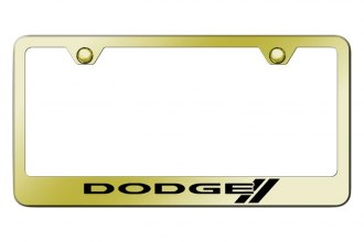 Autogold® - License Plate Frame with Laser Etched Dodge Stripes Logo
