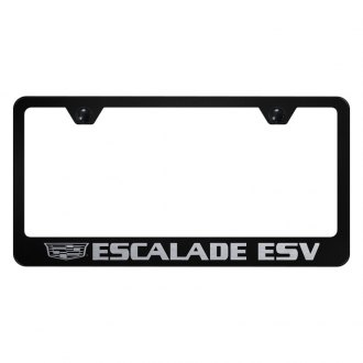 Autogold® - License Plate Frame with Laser Etched Escalade ESV Logo and Cadillac Emblem