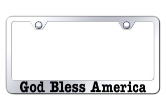 Autogold® - License Plate Frame with Laser Etched God Bless America Logo