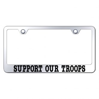 Autogold® - Chrome License Plate Frame with Laser Etched Support Our Troops Logo