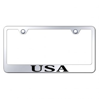 Autogold® - Chrome License Plate Frame with Laser Etched USA Logo