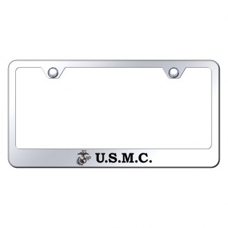 Autogold® - Chrome License Plate Frame with Laser Etched U.S.M.C. Logo and Emblem