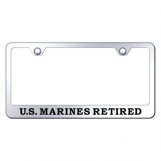 Autogold® - License Plate Frame with Laser Etched Military Retired Logo