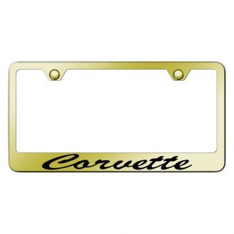 Autogold® - Gold License Plate Frame with Script Laser Etched Corvette Logo