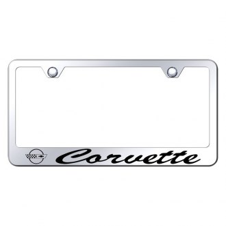 Autogold® - License Plate Frame with Script Laser Etched Corvette Logo