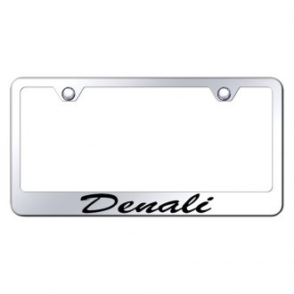Autogold® - Chrome License Plate Frame with Script Laser Etched Denali Logo