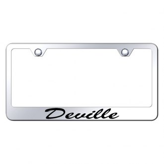 Autogold® - Chrome License Plate Frame with Script Laser Etched Deville Logo