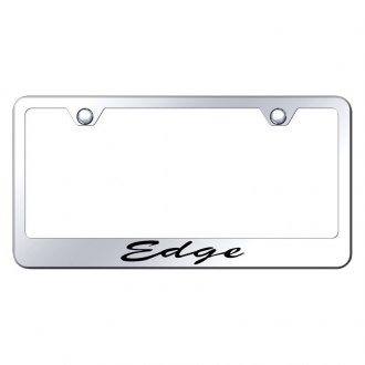 Autogold® - Chrome License Plate Frame with Script Laser Etched Edge Logo