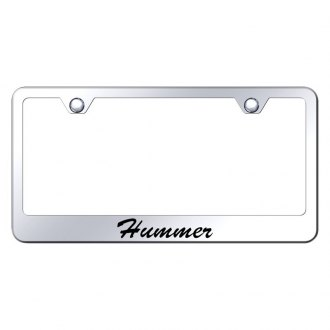 Autogold® - Chrome License Plate Frame with Script Laser Etched Hummer Logo