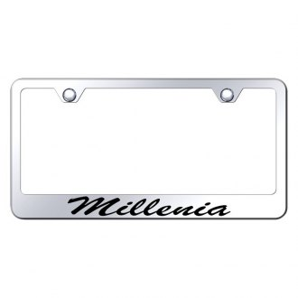 Autogold® - Chrome License Plate Frame with Script Laser Etched Millenia Logo