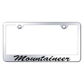 Autogold® - Chrome License Plate Frame with Script Laser Etched Mountaineer Logo