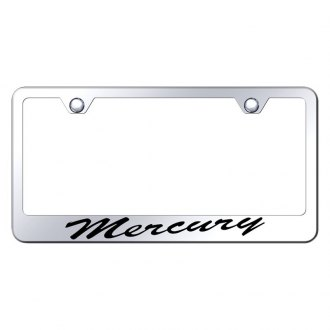 Autogold® - Chrome License Plate Frame with Script Laser Etched Mercury Logo