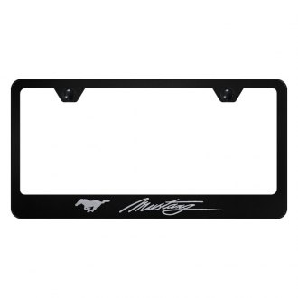 Autogold® - License Plate Frame with Script Laser Etched Mustang Logo