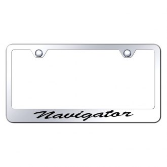 Autogold® - License Plate Frame with Script Laser Etched Navigator Logo