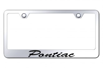 Autogold® - License Plate Frame with Script Laser Etched Pontiac Logo